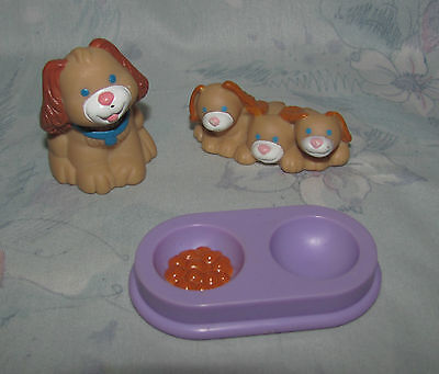 Fisher Price Loving Family Dollhouse Brown Dog Puppies Food Bowl