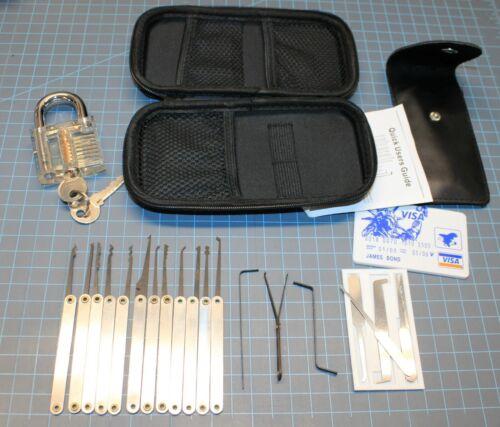 Locksmith Training Set 28 Pieces Includes Rakes Single Pin Pics Practice Lock