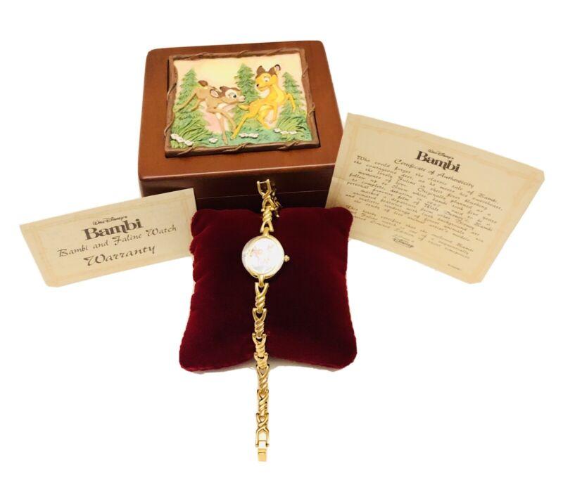 Disney 1989 Bambi And Faline LTD ED 441/1500 Wristwatch In Ceramic Wood Case HTF