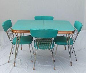 Vintage 1950s Formica Chrome Copper Trim Table w 2 ...