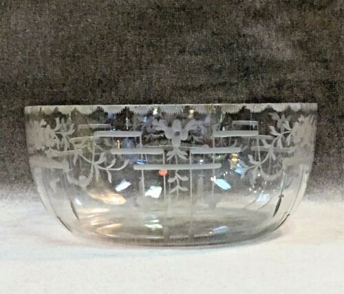 Signed TG HAWKES Crystal Etched Bowl