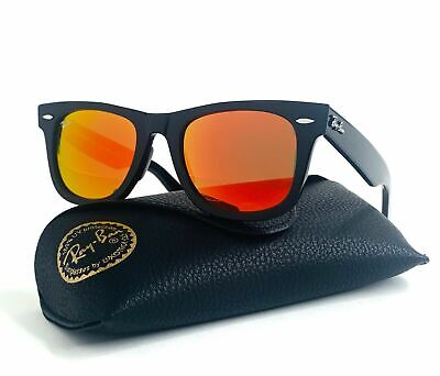 Ray-Ban Wayfarer RB2140 901 50mm Black Sunglasses Orange Mirror Lens (Orange Mirrored Wayfarer Sunglasses)