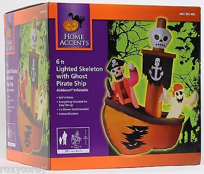 Halloween 6 ft Lighted Skeleton with Ghost Pirate Ship Airblown Inflatable - Pirate Lights