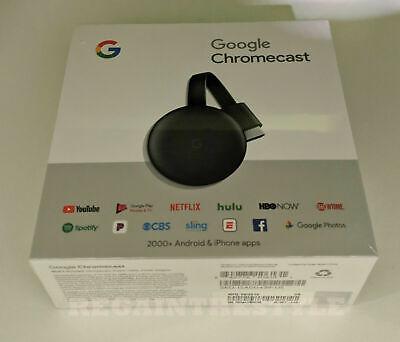 Google Chromecast (3rd Generation) Wi-Fi Media Streamer - Factory Sealed New