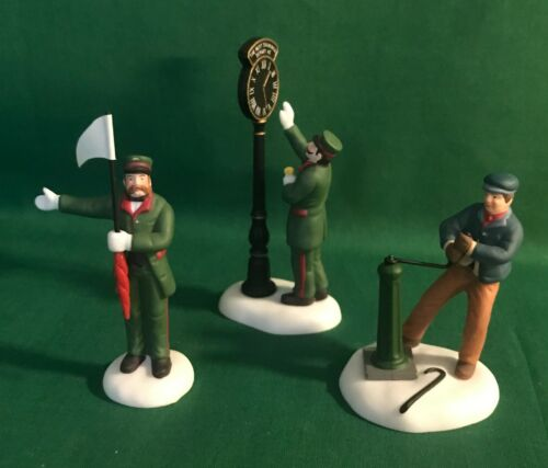 Dept 56 Dickens Village Busy Railway Station figures- set of 3
