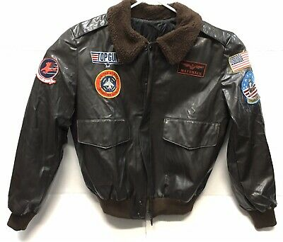 Top Gun Jacket ( Mens Faux Leather Bomber Jacket Maverick Jet Pilot Top Gun Size Small )