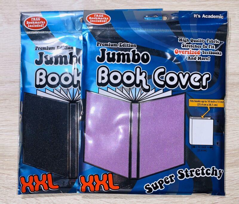 Jumbo Book Covers XXL (2 PACK) Super Stretchy Premium Edition Purple & Black