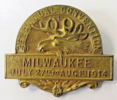 1914 MOOSE 26th ANNUAL Convention MILWAUKEE Wisconsin Fraternal pinback badge +
