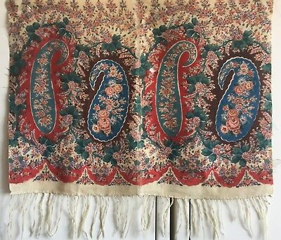 Beautiful Late 19th C. French Printed Wool Challis Paisley Fabric Border (2395)