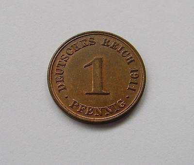 KAISERREICH: 1 Pfennig 1911 A, J. 10, stempelglanz, TOLLER MÜNZGLANZ !!!