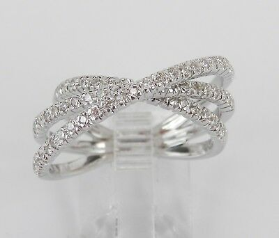 18K White Gold Diamond Crossover Wedding Ring Multi Row Band Size 6.5 Crossover Diamond Wedding Band