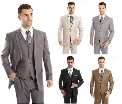 Men's Three Piece Vested Suit Modern Fit Two Button Formal Solid Dress Suits -