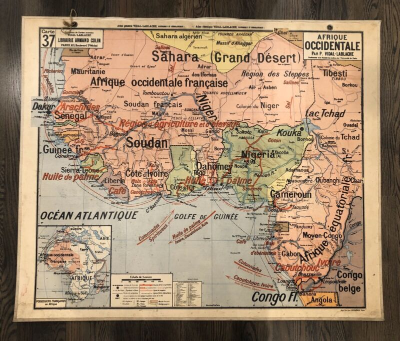 "Vintage Large French School Map ""AFRICA"" & ""GUYANE-ANTILLES""  Vidal-Lablache N37"