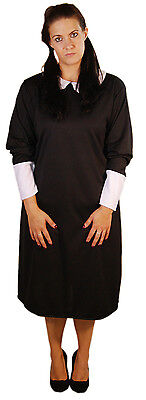 HALLOWEEN-Creepy-Evil-Addams Family LADIES WEDNESDAY GIRL COSTUME All Sizes