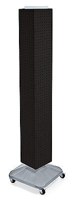 Black Interlocking Pegboard Display With Square Wheeled Base 8w X 60h Inches