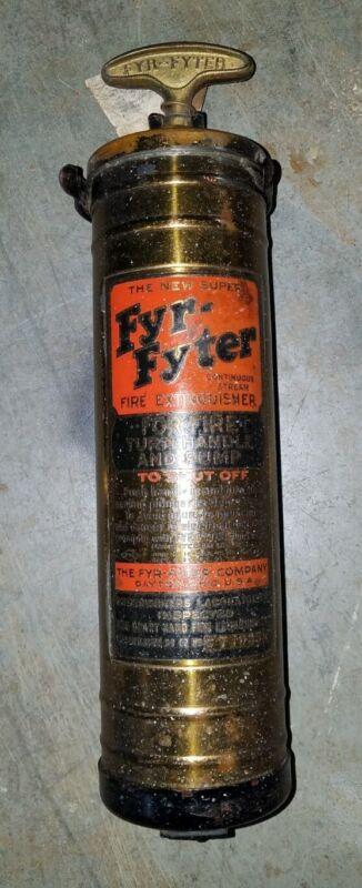 Vintage The New Super FYR-FYTER Brass Fire Extinguisher & Wall Bracket