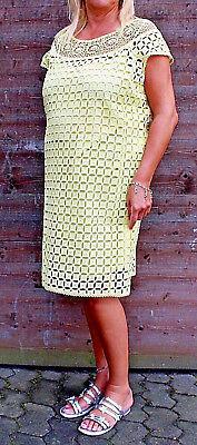 Baumwolle Kurze Kleid (WOW Artigiano Kleid Spitzenkleid Baumwolle gelb Kurzarm Gr 38 44 46 50 NEU B307)