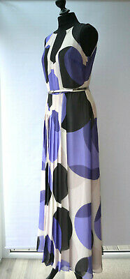 Jonathan Saunders Evening Gown Dress Purple White Dots Circles Maxi Uk Sz. 12