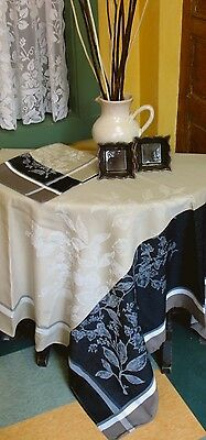 "FRENCH JACQUARD SQUARE TABLECLOTH 'Disposition' 60""x 60""  PROVENCE Teflon Coated"