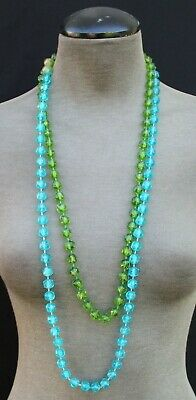 60s -70s Jewelry – Necklaces, Earrings, Rings, Bracelets Vintage 1960s - 1970s Green & Blue Beaded Retro MCM Cocktail Costume Necklace $10.00 AT vintagedancer.com