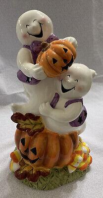 Ceramic Halloween Ghost Centerpiece Laughing Ghosts Smiling Jack O Lanterns