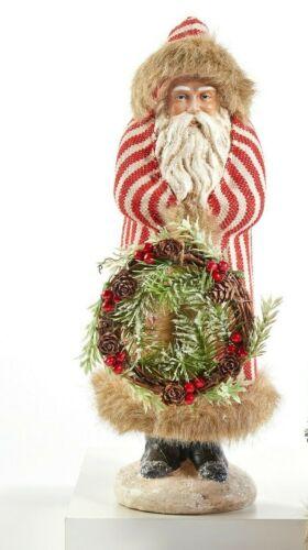 "Belsnickle Santa Figurine holding twig wreath, Red stripe coat, fur 14"" tall NWT"