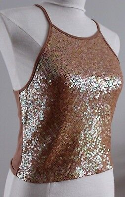 Express Women's Sequin Embellished  Stretch Cropped Halter Tank Top Tan Size (Cropped Stretch Halter)