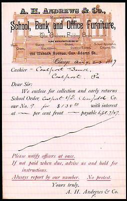 1887 Chicago  - A H Andrews & Co School Bank & Office Furniture - Letter Head