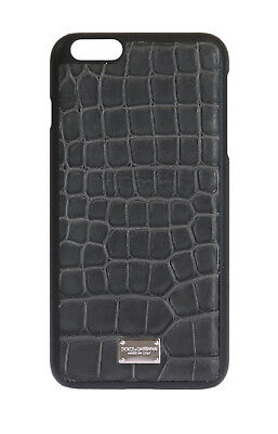 NEW $700 DOLCE & GABBANA Phone Case Gray Pattern Leather Logo iPhone6 Plus