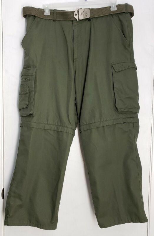 Official BSA Boy Scouts of America Mens Convertible Uniform Pant Shorts 40 Green