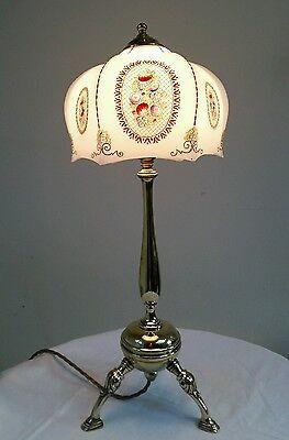 Elegant Antique C1900 Edwardian Rare Tripod Cast Brass Table Lamp. Fully Rewired