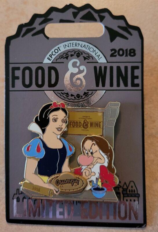 Disney Epcot Food and Wine Pin Snow White Grumpy Pie Baking Festival 2018 LE