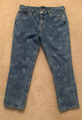 GAP Womens Mid Rise Best Girlfriend Jeans Paisley Print Denim Sz (Best Mid Rise Jeans)