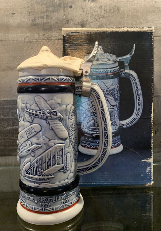 AVON 1981 Flying Classics Collectors Beer Stein Blue Metal Ceramic Made Brazil