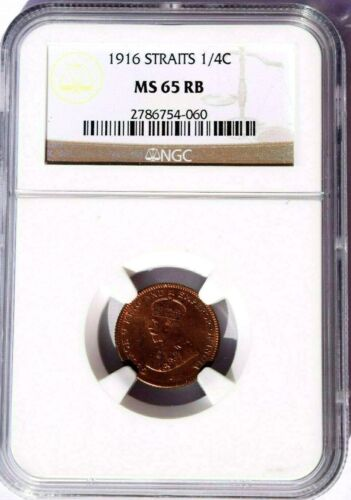 1916 Straits Settlements 1/4 Cent, NGC MS 65 RB, KM-27, Malaysia
