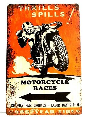 Motorcycle Racing Tin Poster Sign Vintage Ad Style Thrills & Spills Races Biker