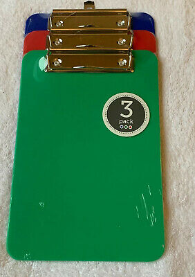 Clipboard 3 Pack Assorted Colors Mini Sized