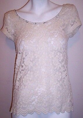 Lace Satin Bow Top - Ivory Stretch Lace Top M Cap Sleeve Sexy Black Satin Bow Tie Semi Sheer Lacey M