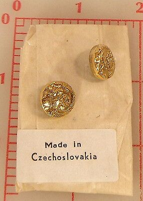"12 vintage glass shank buttons gold 4 flower design Czech 1/2"" 13mm #79"