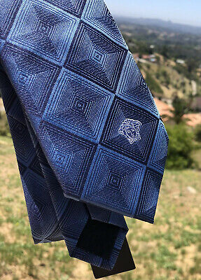 NWT Versace Medusa Silk Made In Italy Neck Tie dark blue Suit Green Silver Rare