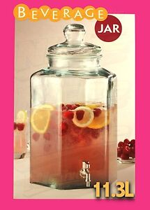 11.3 LITRE LARGE GLASS Beverage Jar Drink Dispenser Party Jug Juice Server Spain