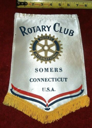 VINTAGE Rotary International Club wall banner flag     SOMERS   CONNECTICUT
