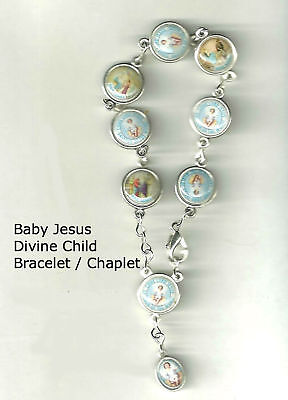 Baby Rosary Bracelet (Child Jesus Chaplet Rosary Bracelet, Boxed CHRISTMAS w/Prayer Card)