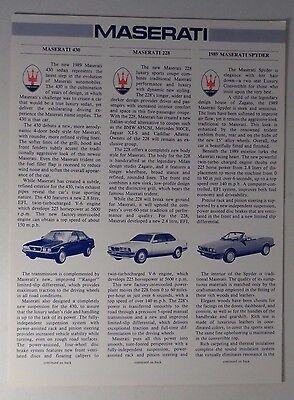 "1989 Maserati 228 430 & Spyder Single Sheet Brochure/Info Flyer 9x12"""