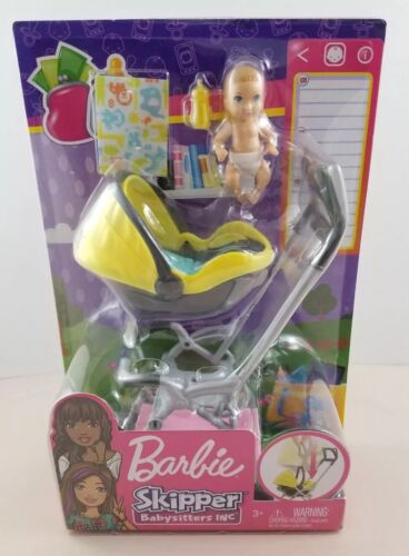 new barbie skipper babysits inc yellow stroller