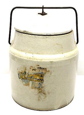 Vintage 10 lb. Storage Glazed Stoneware Crock w/ Locking Lid+Handle 9