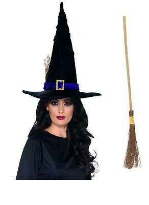 Women's Tall Witches Fancy Dress Hat & Broomstick Halloween Trick Or Treat Fun