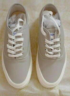 MAISON KITSUNÉ PARIS Light Grey Leather Laced Sneakers Shoes sz 39 EU / US 8