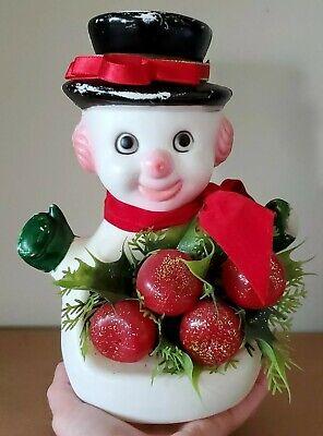 VTG SNOWMAN EvezBeadz FLORABELLE FLORAL Apples Classic Christmas Deco Grandma EP