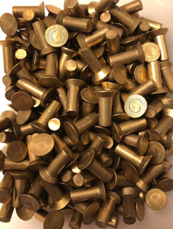 3/16 X 1/2 Countersunk Flat Solid Brass Rivet Antique Blacksmith (100 Pcs)